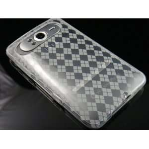 CLEAR TPU Crystal Gel Check Design Skin Cover Case for HTC