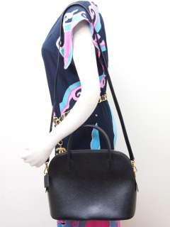 Vintage CELINE Black Leather Round Handle Shoulder Strap Handbag Bag