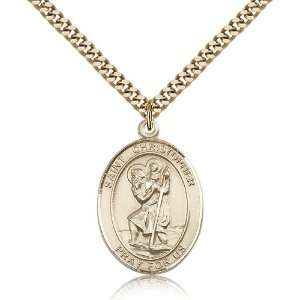 Gold Filled St. Saint Christopher / Paratrooper Medal Pendant 1 x 3/4