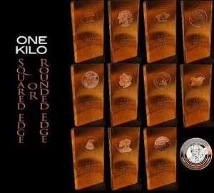 Kilo .999 Fine Copper Bullion Art Bar Ingot 12 Styles Investment Lot