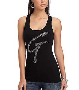 GUESS NEW Arrival Rhinestone G Tucker Logo Tank COTTON Top Tee