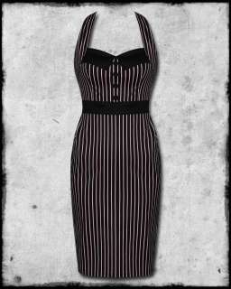 HELL BUNNY BLACK PINK STRIPE MRS JOHNSON 50s ROCKABILLY PINUP PENCIL