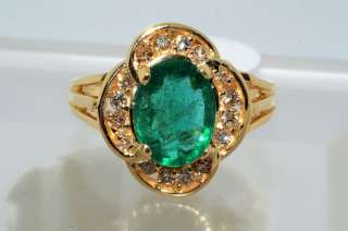 2500 1.59CT OVAL CUT EMERALD & COGNAC DIAMOND RING SIZE 6.25