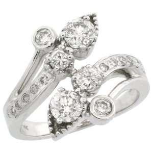 14k White Gold Leaf Vine Diamond Ring, w/ 1.00 Carat Brilliant Cut