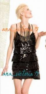 NW Marciano Guess JENILEE SEQUIN TIERED ICON DRESS XS S