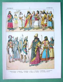 ASSYRIA Costume of Kings Soldiers Priests   COLOR Litho Print