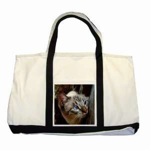 Cute Blue Eye Kitty Two Tone Tote Bag