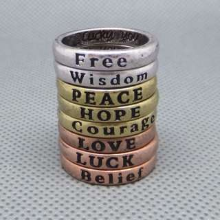 HOPE LOVE LUCK PEACE Free Belief Wisdom Courage Ring set.