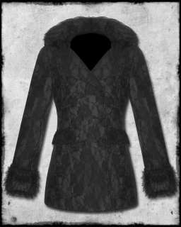LIVING DEAD SOULS BLACK GOTH STEAMPUNK ROSE LACE OVERLAYER FUR TRIM