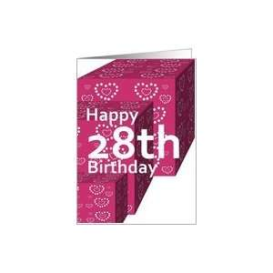28 Birthday Greeting Card with Heart Covered Gifts Card