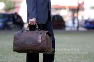 Vintage Mens Cowhide Leather Travel Case Duffle Bag A2