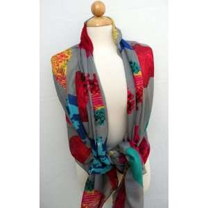 Gorgeous Flower Fruit Design Scarf Shawl Wrap,Scarves for Women ,High