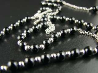 10k WHITE GOLD ROSARY DIAMOND NECKLACE CHAIN BLACK ONYX