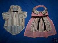 DOG CLOTHES BROWN/PINK STRIPE MATCHING MALE/FEMALE SET