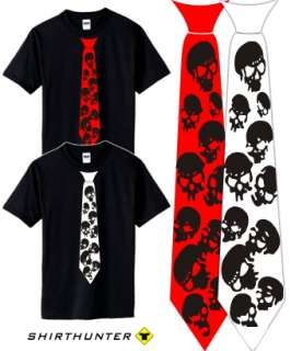 Skull Punk Rock EMO Gothic Krawatte T Shirt S XXL f79