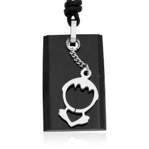 Ziovani 2 Tone Boy Love Heart Tag s Stainless Steel Pendant Necklace