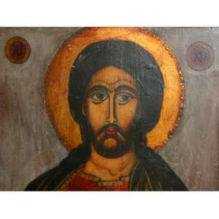 ANTIQUE BULGARIAN ORTHODOX JESUS CHRIST PANTOKRATOR HAND PAINTED ICON