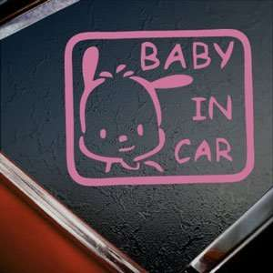 BABY POCHACCO IN CAR ON BOARD Pink Decal Window Pink