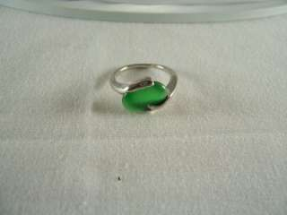 EMERALD GREEN CATS EYE OVAL CABOCHON STONE RING, NEW, GIFT BOXED, E21
