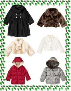GYMBOREE Holiday Winter Coats Faux Fur Puffer NWT Upick