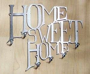 Schlüsselbrett HOME SWEET HOME Hakenleiste ~EDELSTAHL~