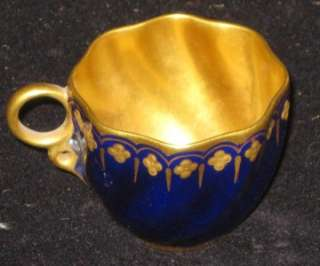Antique Porcelain Coalport 19th Century Demitasse Cup Cobalt Blue and