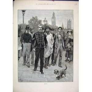 1882 Soldier Recruits Dog Street Scene Antique Print