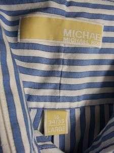 mens blue striped MICHAEL KORS casual dress shirt L 16 34 35