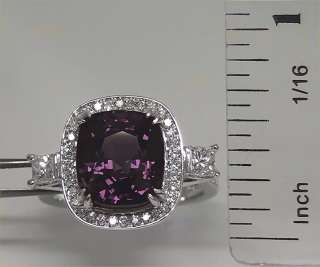 GIA Certified Estate 7.29 ct Natural Spinel Diamond Cocktail Ring 14k