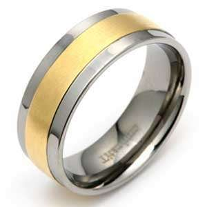 High Polished Titanium Ring with Gold Plated Center For Men Jewelry