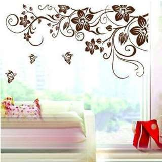 Removable FLOWER Vine Butterfly Leave Art Mural Vinyl Wall Sticker