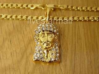 JESUS GOLD TONE PENDANT 22 CUBAN LINK CHAIN W/BOX