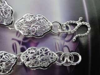 925 Sterling Silver Plated Flower Charm Bracelet JB86