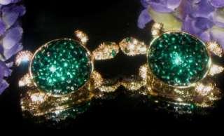 VTG RARE ART GLASS EMERALD GREEN GLASS DOME RHINESTONE TURTLE BROOCH