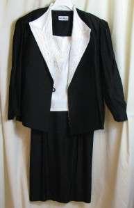 Karen Miller 3 Pc Evening Suit Black White Rhinestone Jacket Skirt