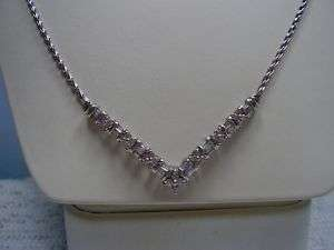 Beautiful 14K White Gold Diamond Necklace
