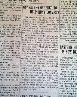 1933 JOHN DILLINGER Machine Gun Kelly Capture Newspaper