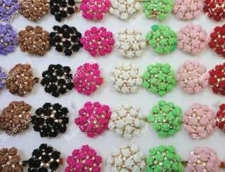 wholesale jewelry lots 5pcs pretty rhinestone & resin rose rings free