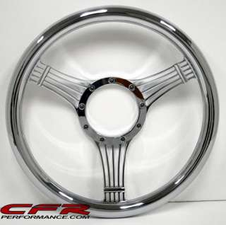 ALUMINUM CHROME FULL BILLET STEERING WHEEL 5520 1 CHEVY
