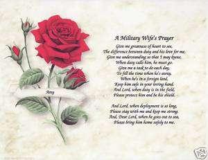 Military Wife Prayer Poem Personalized Print Name
