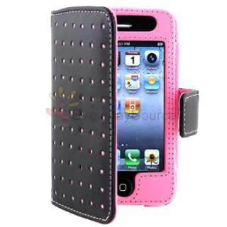 Dots Leather Flip Cover Skin Case for iPhone 4 G 4G 4GS 4S USA