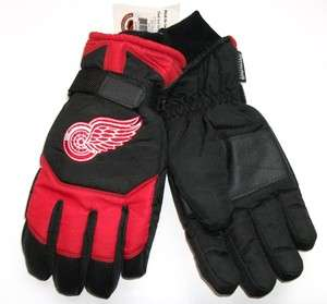 RED WINGS NHL MENS THINSULATE SKI GLOVES OSFA