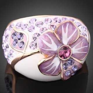 Violet Flower Swarovski Crystals Fashion Gold GP Ring