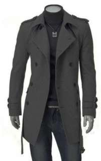 Mens UK Style High Quality Grey Woolen Trench Coat