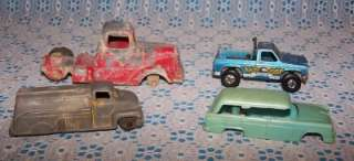 Vintage Tootsie Toy Lot Of 4 Metal Trucks/Van/Sedan