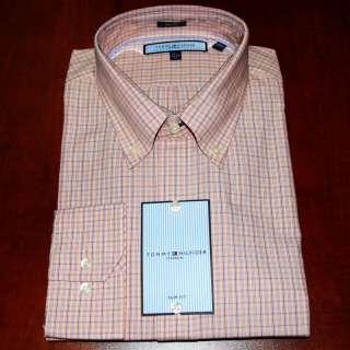 MEN TOMMY HILFIGER ITHACA DRESS SHIRT ORANGE SLIM TH009