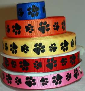Animal Paw Prints Sports Team Grosgrain Ribbon U PICK