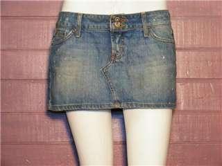 Hint Jeans Blue Denim Distress Jean Mini Skirt, Sz 9