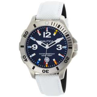 NEW NAUTICA BLUE DIAL WHITE LEATHER STRAP WATCH N12568G