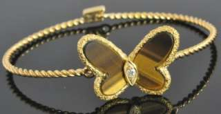 Van Cleef & Arpels 18K Yellow Gold Tigers Eye Diamond Butterfly
